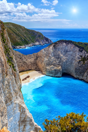 Navagio (Shipwreck) Beach in Zakynthos island, Greece. Navagio Beach is a popular attraction among tourists visiting the island of Zakynthos.The best beaches in the world