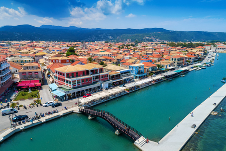 Lefkava, Greece, July 16, 2017: Aerial view of Lefkada town, Lefkada island, Greece Éditoriale