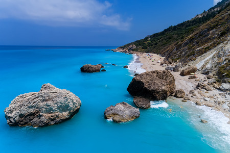 Aerial view of famous beach of Megali Petra on the island of Lefkada in the Ionian Sea in Greece Stock Photo