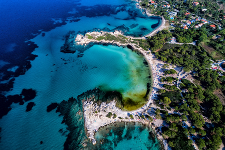 Aerial view of the beautiful Karidi beach in the Vourvourou of Chalkidiki,Greece. Visit the summer hundreds of tourists daily from the Balkans and from Europe Stock Photo