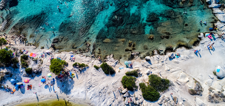 Aerial view of the beautiful Karidi beach in the Vourvourou of Chalkidiki,Greece. Visit the summer hundreds of tourists daily from the Balkans and from Europe Editorial