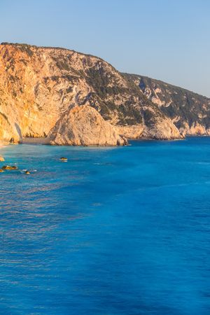 People swim in the sea at Porto Katsiki Beach in Lefkada Island, Greece Banque d'images