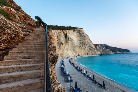 Sunbeds in front the sea at Porto Katsiki Beach in Lefkada Island, Greece