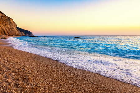 Empty tropical beach and sea at Porto Katsiki Beach in Lefkada Island, Greece Banque d'images