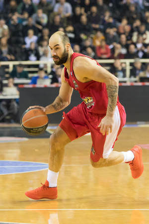 Thessaloniki, Greece, January 7, 2018: Player of Olympiacos Vassilis Spanoulis in action during the Greek Basket League game Paok vs Olympiacos in Paok Sports Arena Stadium Editorial