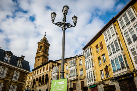 Vitoria, Spain - January 12, 2018: City view in central street of Vitoria. Vitoria-Gasteiz is the capital of the Autonomous Community of the Basque Country and the Araba province in northern Spain Editorial