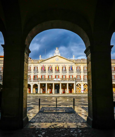 Vitoria, Spain - January 12, 2018: The town hall of Vitoria, Spain. Vitoria-Gasteiz is the capital of the Autonomous Community of the Basque Country and the Araba province in northern Spain