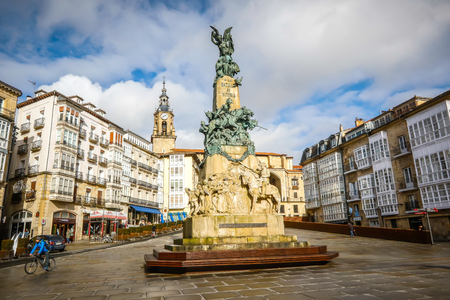 Vitoria, Spain - January 12, 2018: Virgen Blanca square in Vitoria. Vitoria-Gasteiz is the capital of the Autonomous Community of the Basque Country and the Araba province in northern Spain