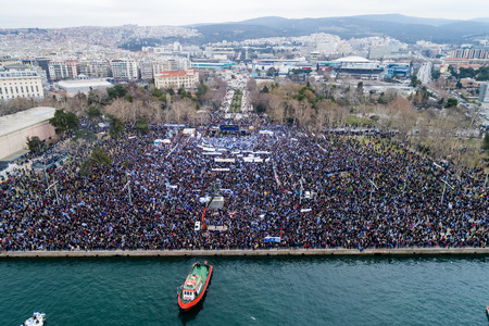 Thessaloniki, Greece - January 21, 2018:Thousands of people protest against any Greek compromise on the name dispute with the FYROM in Thessaloniki, Greece