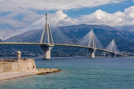 View of suspension bridge Rio-Antirio in Greece. Bridge crossing Corinth Gulf strait, Peloponnese, Greece
