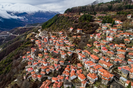 Aerial view of Metsovo is a town in Epirus, in the mountains of Pindus in northern Greece and attracts many visitors Editorial