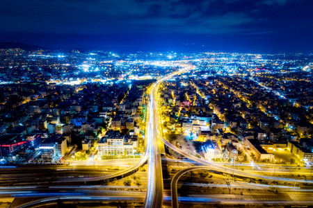 Aerial view of high speed road in the of Athens city, Greece Standard-Bild
