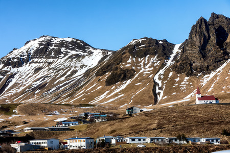Church on hill in Vik, Little town of Southern Iceland