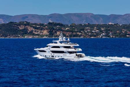Large private motor yacht at sea Banco de Imagens