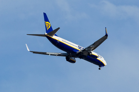 Thessaloniki, Greece - April 29, 2018: A plane from the airline Ryanair takes off in Greece. Ryanair is Europe's favorite low fares airline, operating flights connecting 186 destinations in 30 count