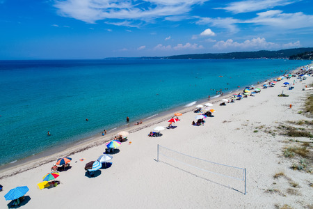 Posidi, Chalkidiki, Greece - July, 26 2017: Aerial view of the beautiful Aigeopelagitika beach in the Posidi of Chalkidiki,Greece. Visit the summer hundreds of tourists daily from the Balkans and from Europe