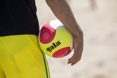 Thessaloniki - Greece June 8, 2018: Close-up on a hand holding the volley ball during the Hellenic championship Beach Volley Masters 2018 at Aristotelous square