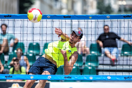 Thessaloniki - Greece June 8, 2018: Undefined player in action during the Hellenic championship Beach Volley Masters 2018 at Aristotelous square. Editorial