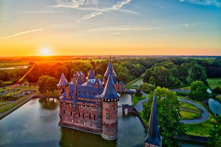 Aerial view of De Haar Castle in Dutch Kasteel de Haar is located in Utrecht Netherlands the current buildings all built upon the original castle, date from 1892