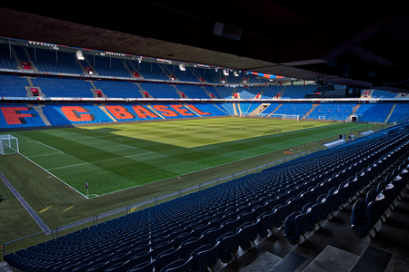 Basel, Switzerland - July 31, 2018: Interior view of the empty St. Jakob-Park Stadium before the match UEFA Champions League between PAOK vs Basel Редакционное