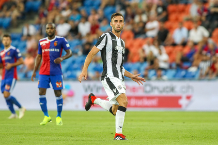 Basel, Switzerland - August 1, 2018: Player of PAOK Mauricio in action during the UEFA Champions League match between PAOK vs Basel played at St. Jakob-Park Stadium