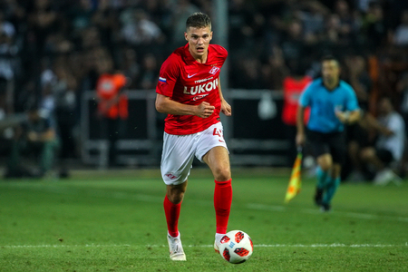 Thessaloniki, Greece - August 8, 2018: Player of Spartak Roman Zobnin in action during the UEFA Champions League Third qualifying round , between PAOK vs FC Spartak Moscow at Toumba Stadium 新闻类图片