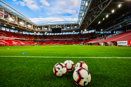Moscow, Russia - August 13, 2018: balls on the empty field Otkritie Arena before the UEFA Champions League Third qualifying round , between FC Spartak vs PAOK Editöryel