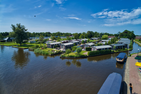 aerial view of Giethoorn village in the Netherlands. Giethoorn is also called 'Venice of The Netherlands' and receives around 800.000 visitors yearly.