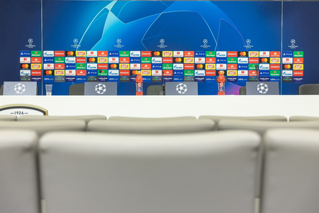 Thessaloniki, Greece - August 28, 2018: Empty press conference room before UEFA Champions League game PAOK vs FC Benfica at Toumba Stadium