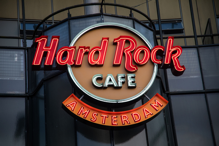 Amsterdam, Netherland - July 7, 2018: Facade of the Hard Rock Cafe Amsterdam with famous logo Editorial