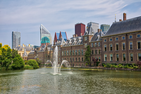 Beautiful city view of The Hague city in Netherlands Imagens