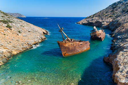 aerial view of Shipwreck Olympia in Amorgos island, Cyclades, Greece Stock Photo
