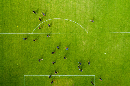 Horst, Netherlands - JULY 11, 2018: aerial view from the sport center of Horst of the Netherlands during the training of the PAOK team Editöryel