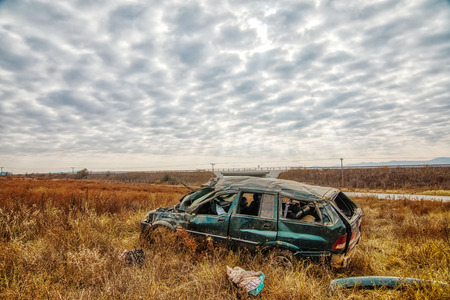 Thessaloniki, Greece - November 13, 2018: A dead and nine injured illegal immigrants are the report of the traffic accident on a bypass of the Egnatia Motorway in Thessaloniki