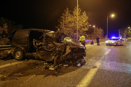 Asprovalta, Greece - November 9, 2018: One dead and twenty-four wounded with illegal immigrants is the report of the road accident of a van by truck that was noted at the Egnatia Motorway, Asprovalta