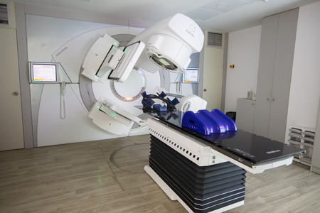 Thessaloniki, Greece - Novemper 21, 2018: Official opening of the first linear accelerator technology IMRT, IGRT, VMAT of the Department of Radiotherapy Oncology at Theageniο Hospital in northern Greece