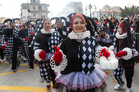 Xanthi, Greece - February 18 ,2018: People dressed in colorful costumes during the annual carnival parade in Xanthi, Greece.The event is very popular among the neighborhood countries as well.