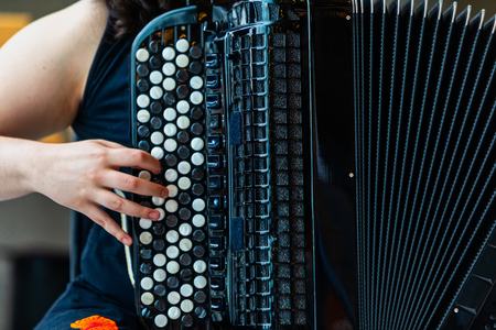 Close-up musician playing the accordion on the stage. Stockfoto