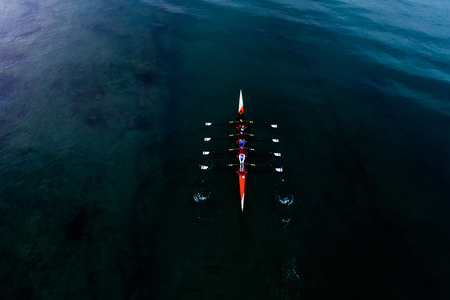 Thessaloniki, Greece - November 24, 2018: Aerial shot of womens Rowing Team during training in the Thermaic Gulf in Thessaloniki 報道画像