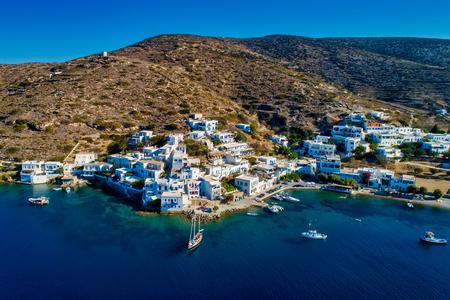 Aerial view of Katapola vilage, Amorgos island, Cyclades, Aegean, Greece