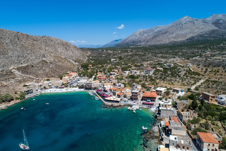 aerial view of Gerolimenas in Laconia, is one of the most picturesque settlements of Mani with a small natural harbor.   Peloponnese, Greece