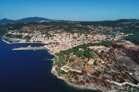 aerial view of Pylos historically also known under its Italian name Navarino, is a town and a former municipality in Messenia, Peloponnese, Greece