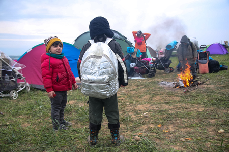 Thessaloniki, Greece - April 5, 2019: Hundreds of migrants and refugees gathered following anonymous social media calls to walk until the Northern borders of Greece to pass to Europe. Editorial