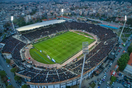 Thessaloniki, Greece, April 7, 2019: Aerial soot of the Toumba Stadium full of fans during a football match for the championship between teams PAOK vs Lamia