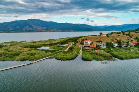 aerial view of island of Agios Achilios in lake Small Prespes, Northern Greece