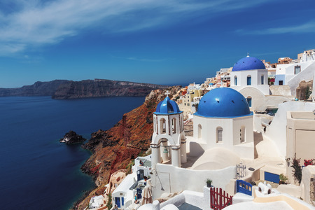 Oia village in Santorini island in Greece Banque d'images
