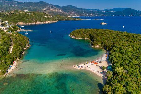 Aerial drone birds eye view of Bella Vraka Beach with turquoise sea in complex islands in Sivota area, Ionian sea, Epirus, Greece 写真素材