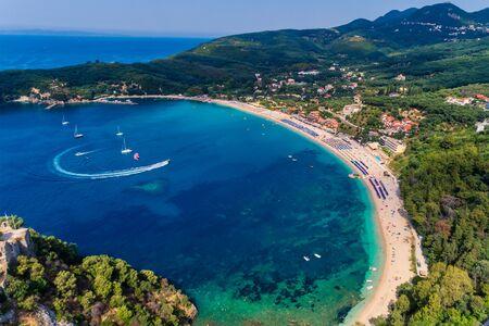 Aerial view of valtos beach in Parga Epirus, Greece, Europe. Stock Photo