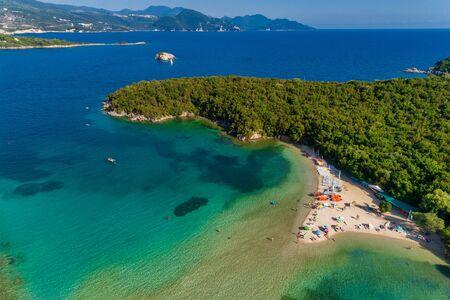 Aerial drone birds eye view of Bella Vraka Beach with turquoise sea in complex islands in Sivota area, Ionian sea, Epirus, Greece Zdjęcie Seryjne