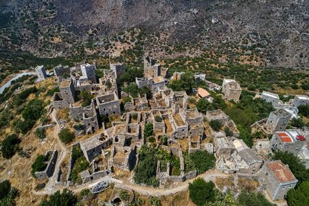 Aerial view the Vathia the impressive traditional village of Mani with the characteristic tower houses. Lakonia Peloponnese